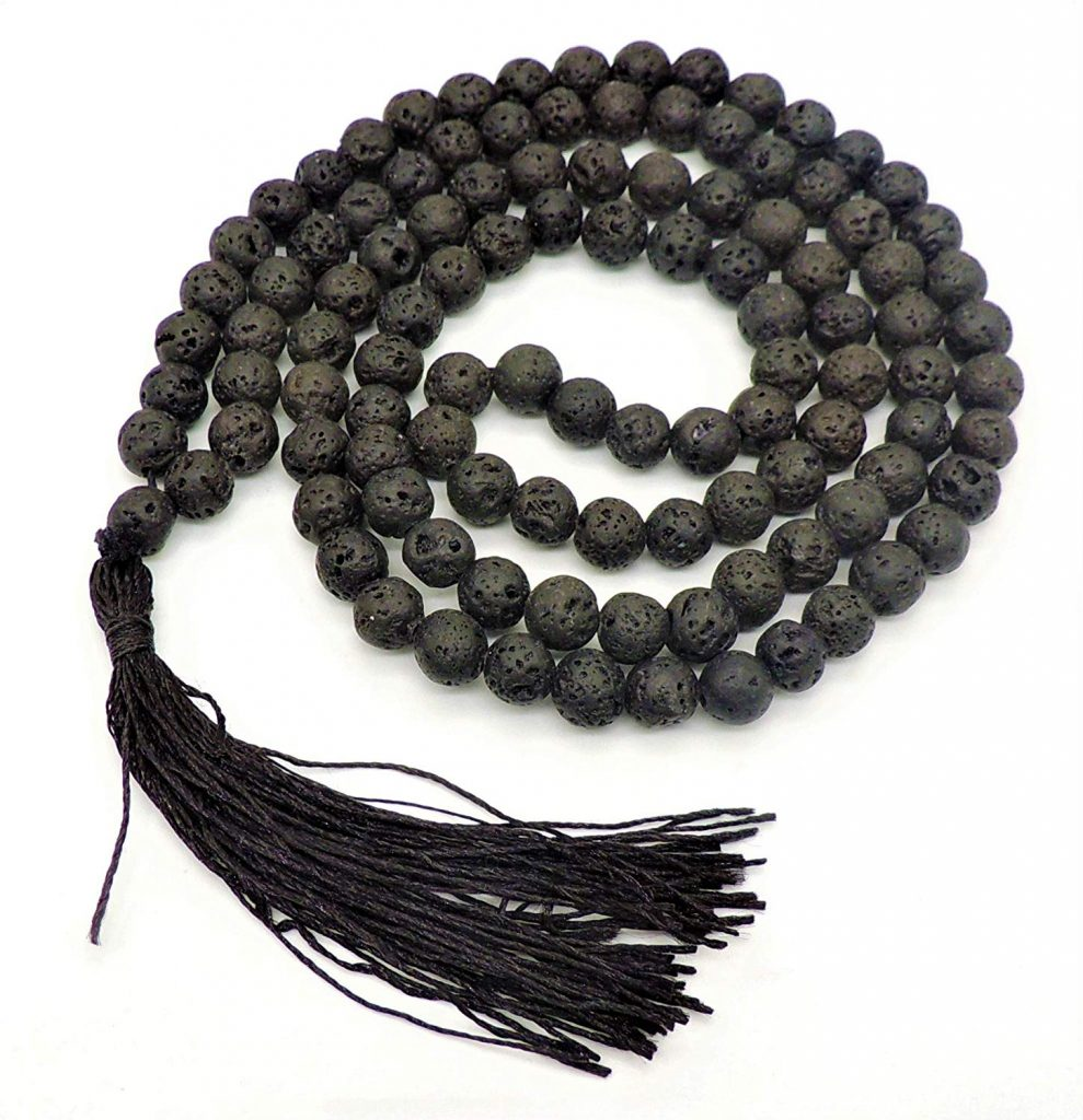 Jwaala Mukhi Stone Beads ki Mala, Black Valcano Lava Stone, For Good Luck and Prosperity